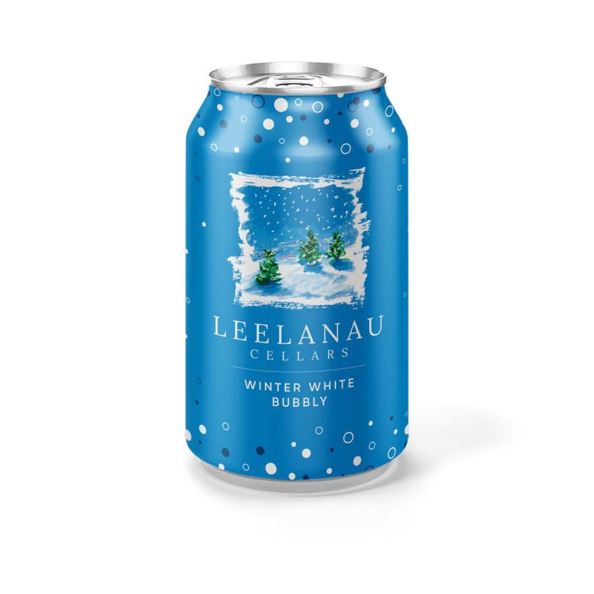 winter-white bubbly in a can front view