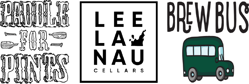 Paddle for pints, Leelanau Cellars and brew bus logo